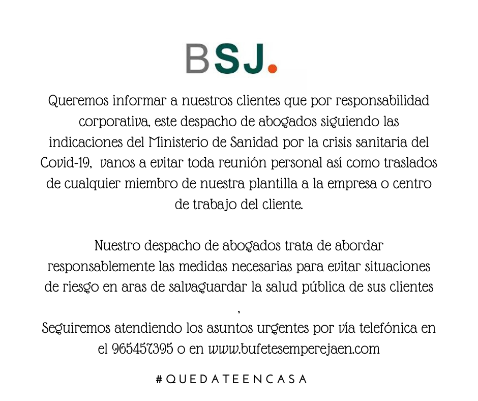 Comunicado Bufete Sempere Jaén por coronavirus