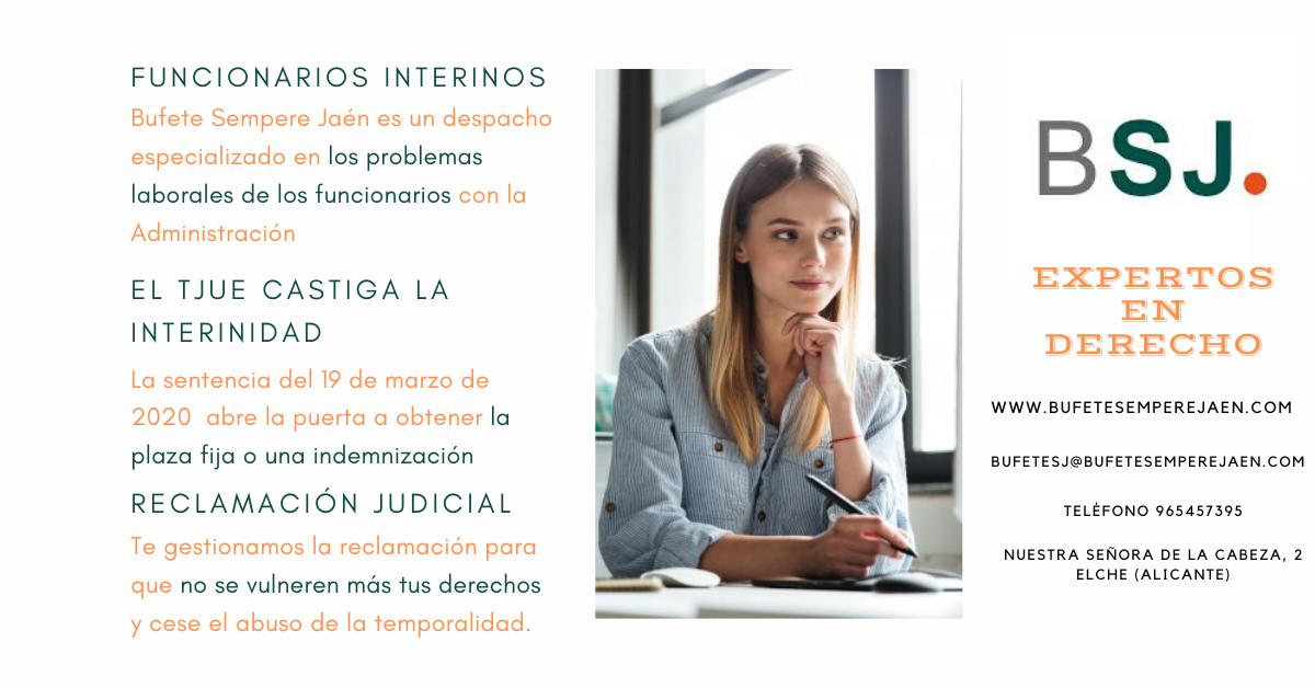 Bufete Sempere Jaén te explica la sentencia sobre los funcionarios interinos en España